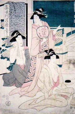 湯本安兵衛の湯宿でくつろぐ女たち(日新館蔵、喜多川月麿画)